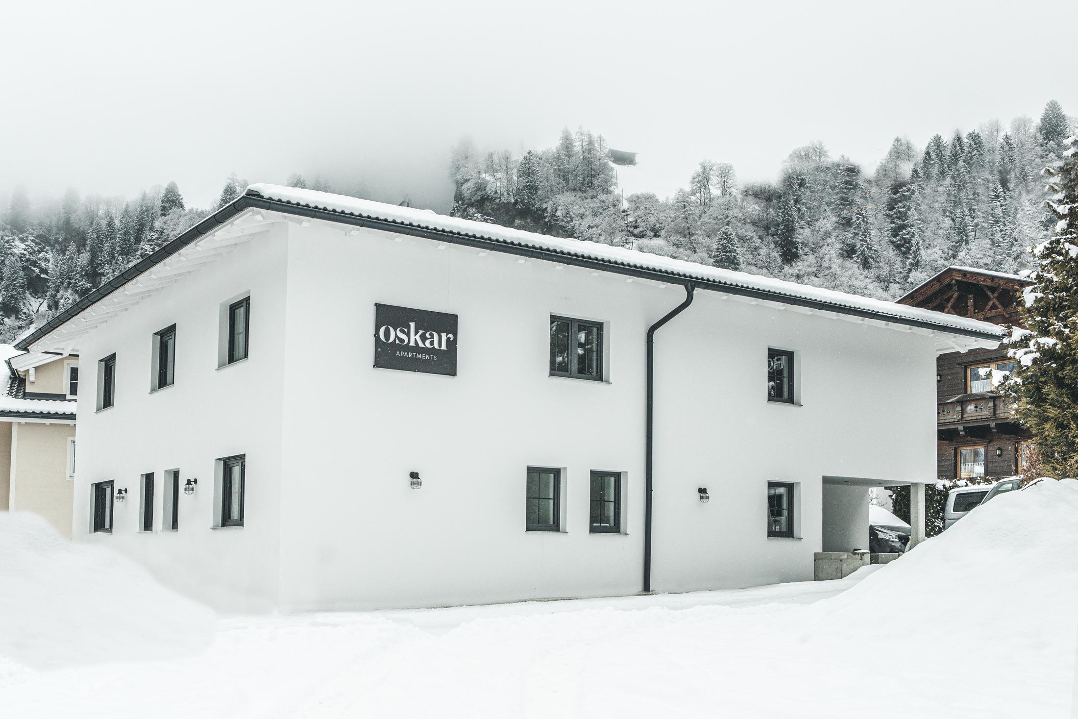 Außenansicht Oskar Apartment Stubai Wintertraum